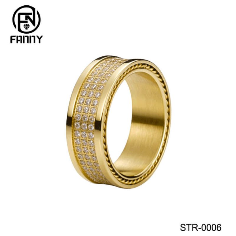 Gold Plated Stainless Steel Rings with CZ Inlay