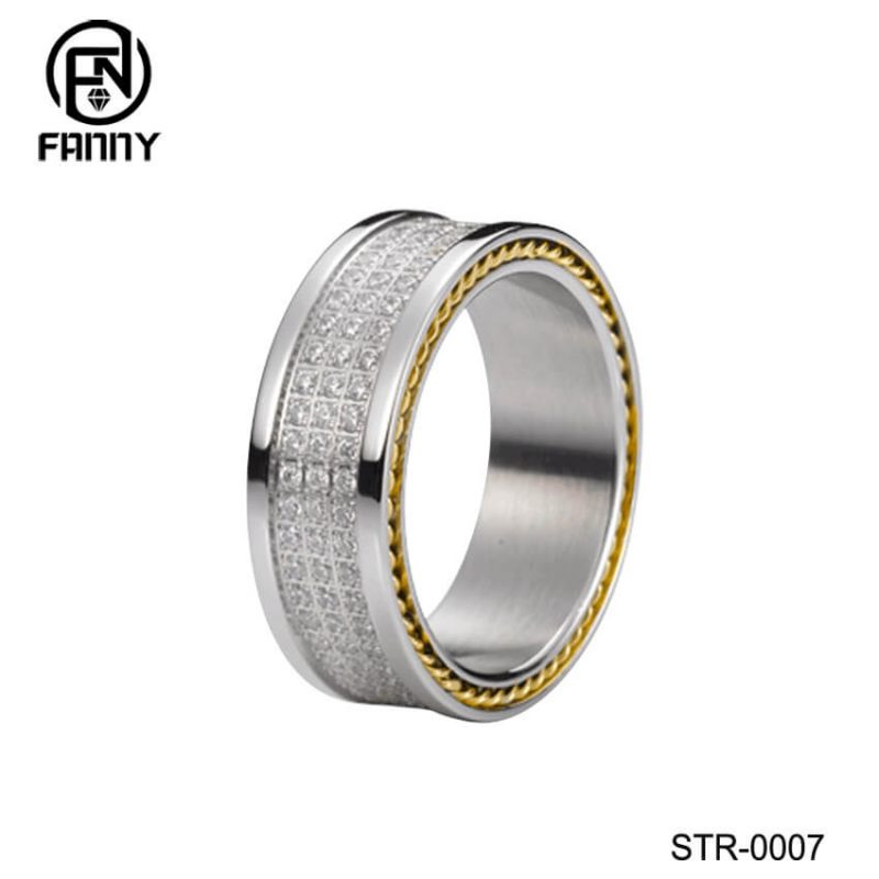 Stainless Steel CZ Wedding Rings with Polished Edges