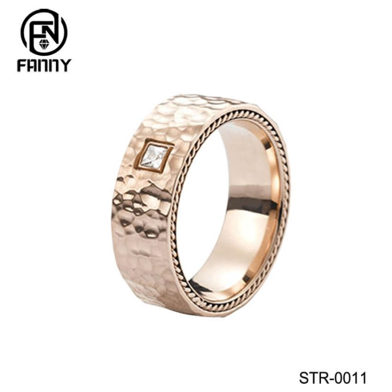 Hammered Stainless Steel Ring With CZ Inlay