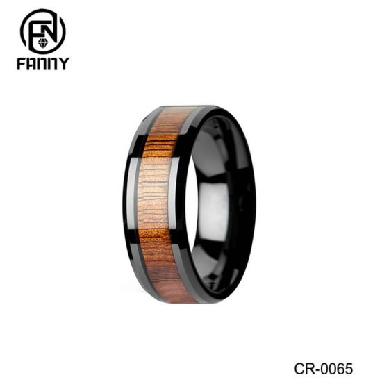 Men's Black High-Tech Ceramic Wedding Band Ring with Real Koa Wood Inlay