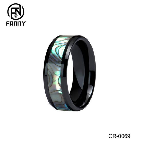 White Black High-tech Ceramic Ring with Abalone Inlay Wedding Band
