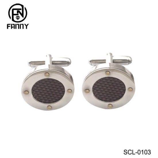 Custom Round 316 Stainless Steel Carbon Fiber Cufflinks Factory