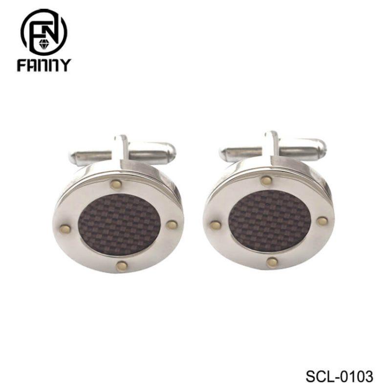 Custom Round 316 Stainless Steel Carbon Fiber Cufflinks
