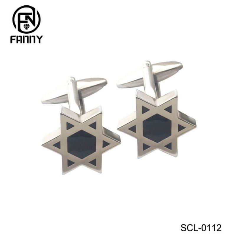 Pentagram Black Enamel Stainless Steel Cufflinks