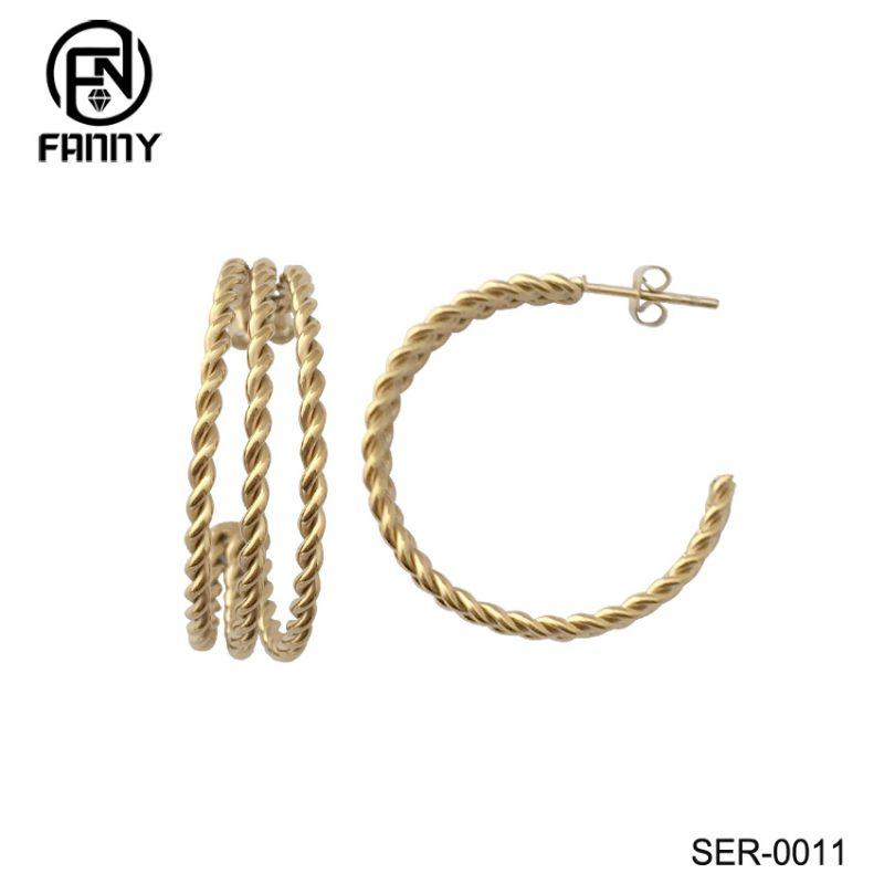 Simple Stainless Steel Twist Hoop Earrings For Women Gold Carved