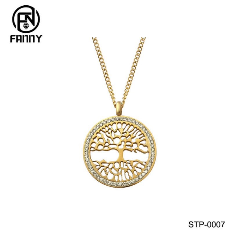 Laser Cut 316 Stainless Steel Life Tree Pattern Pendant