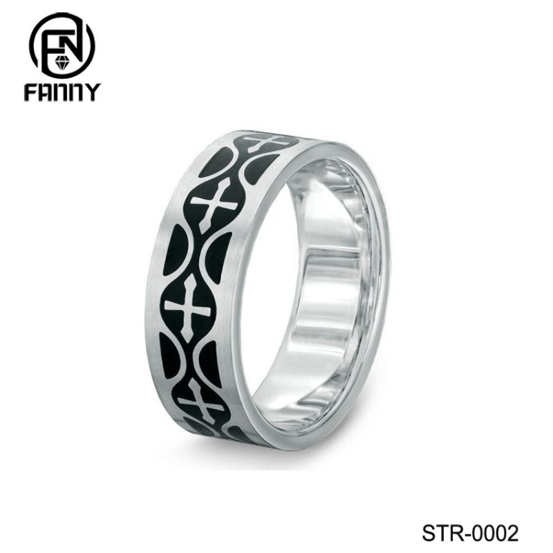 Stainless Steel Celtic Cross Rings with Brushed Finish