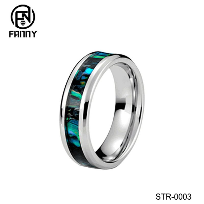 Stainless Steel Abalone Shell Ring with Polished Beveled Edges