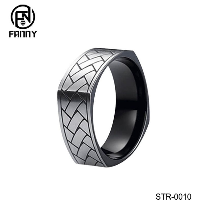 Brushed, Corroded Stainless Steel Ring