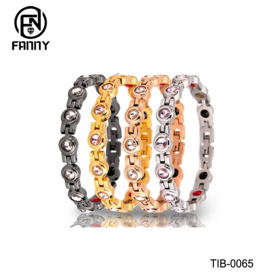 Fashionable Female Titanium Magnetic Therapy Bracelet with CZ Stone Factory