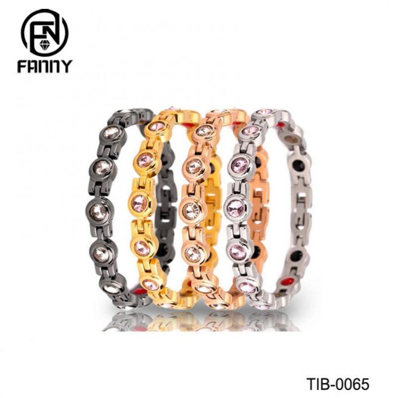 Fashionable Female Titanium Magnetic Therapy Bracelet with CZ Stone