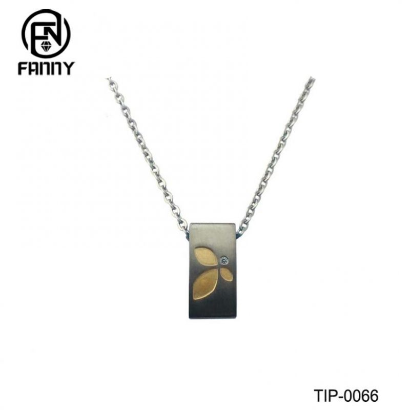 Men's Titanium Brushed Titanium Pendants with Corrosion Pattern