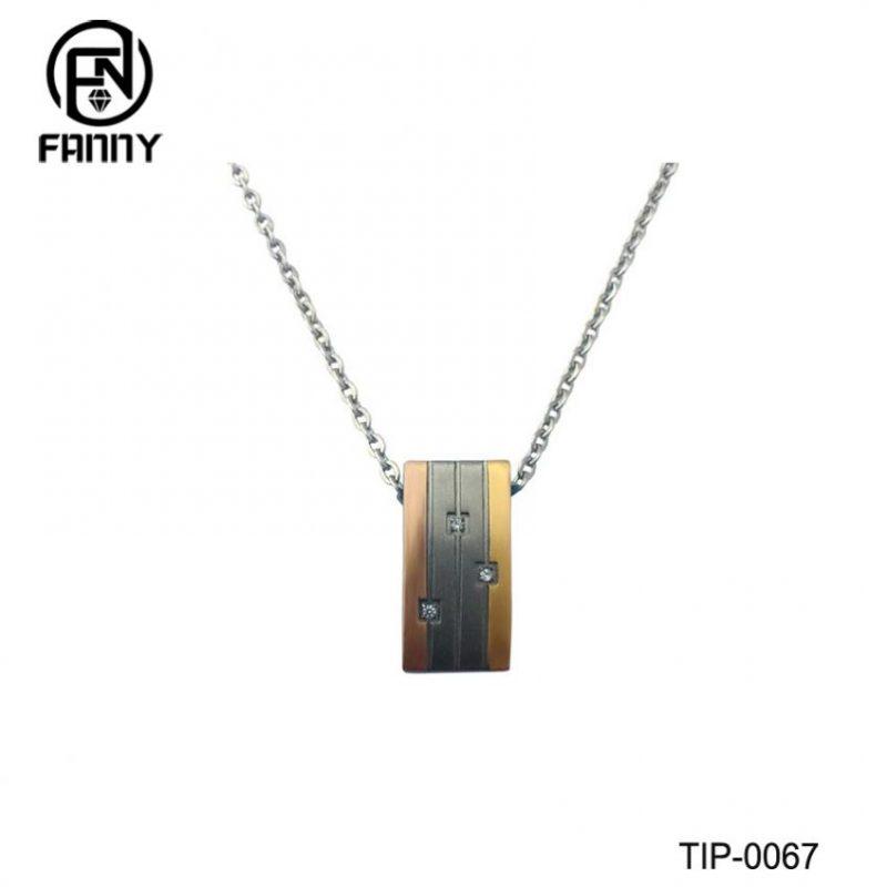 Plating Square Titanium Metal Pendant with CZ Stone
