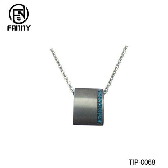 Square Lettering Titanium Pendant with Blue CZ Gemstones Factory
