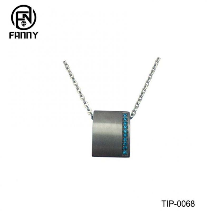Square Lettering Titanium Pendant with Blue CZ Gemstones