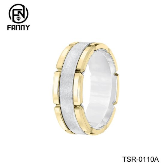Unique Golden Brushed Tungsten Carbide Combination Ring Factory
