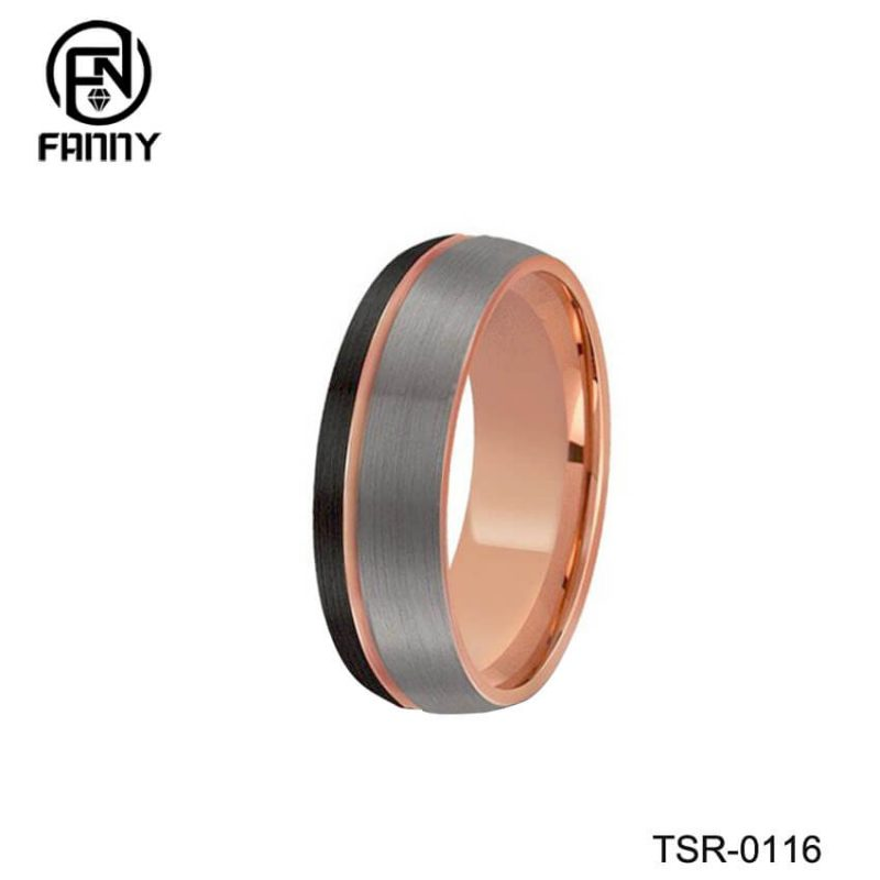 Rose Gold Tungsten Carbide Wedding Ring Black And Silver Brushed