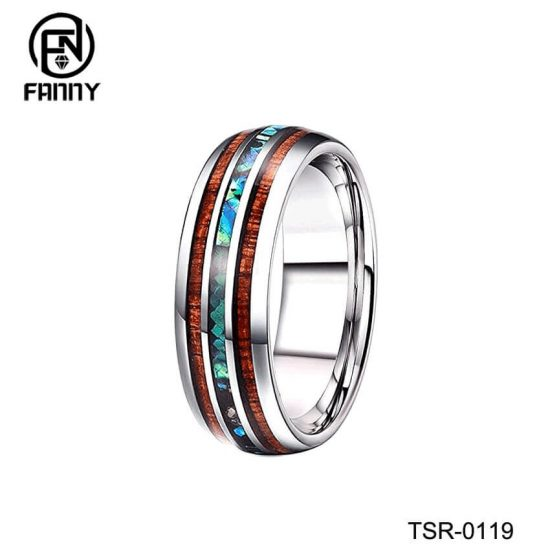 Men And Women Married Tungsten Carbide Ring Abalone Shell And Koa Wood Inlay Factory