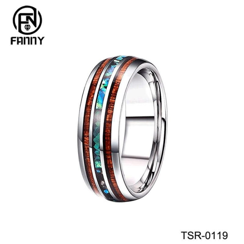 Men And Women Married Tungsten Carbide Ring Abalone Shell And Koa Wood Inlay