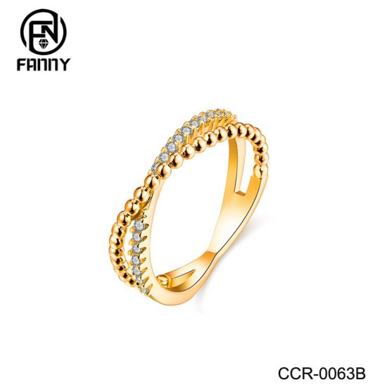 Bead Stacking Brass Rings with Cubic Zirconia Inlay | Brass Jewelry Manufacturer