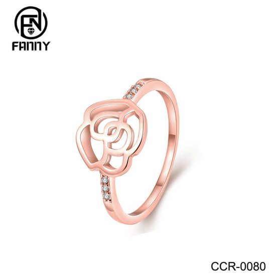 Rose Gold Plated Flower-Shaped Brass Ring Designer Fashion Style Factory