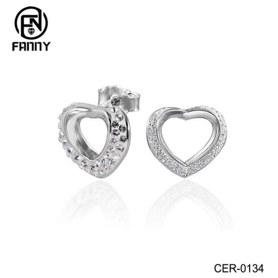 Heart-shaped Crystal Brass Stud Earrings Lady Jewelry Factory