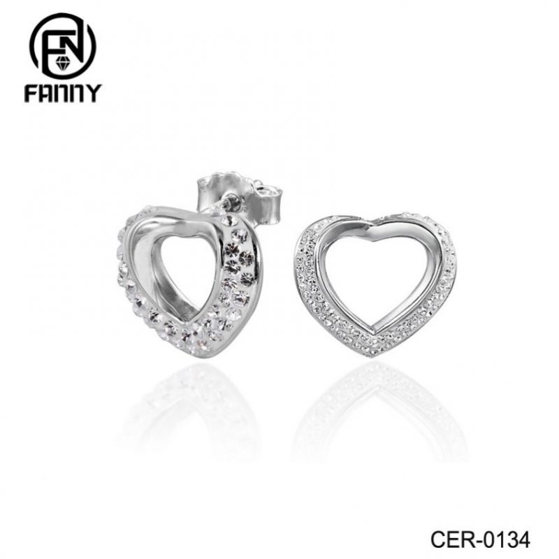 Destiny Jewelry OEM/ODM Heart-shaped Crystal Brass Stud Earrings Lady Jewelry