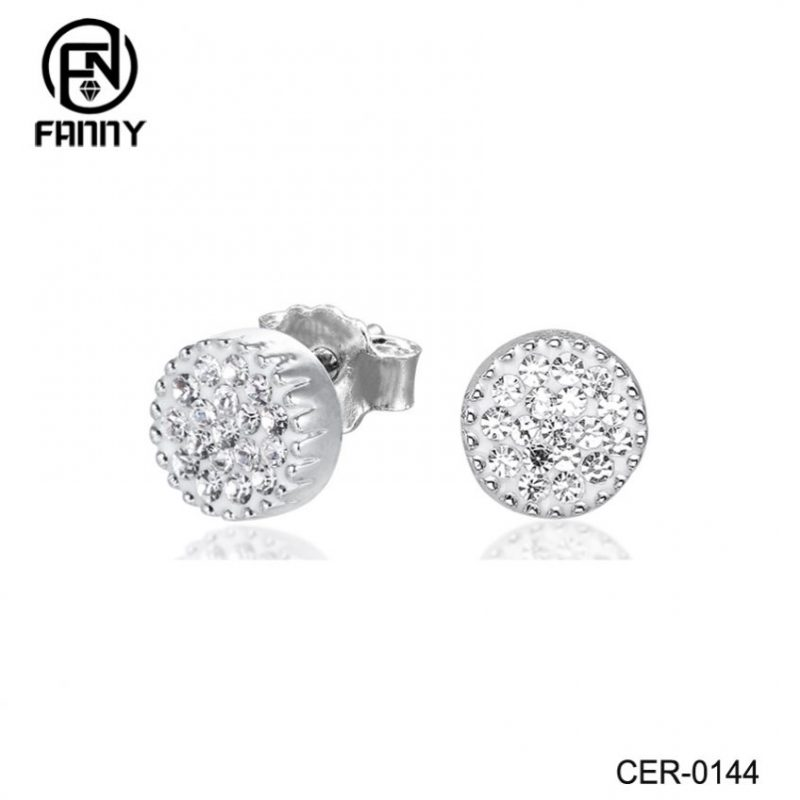 Fashion Brass Crystal Stud Earrings China Brass Jewelry Supplier