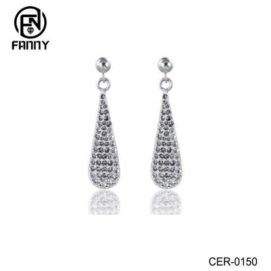 Custom Women Charming Water Drop Design Crystals Brass Stud Earrings Factory