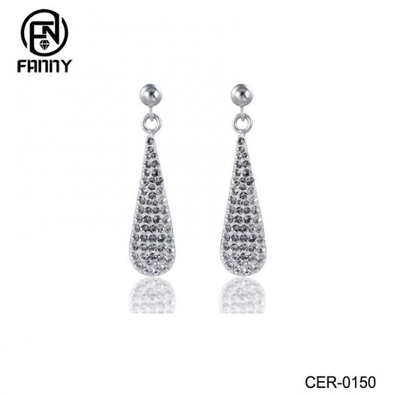 Custom Women Charming Water Drop Design Crystals Brass Stud Earrings