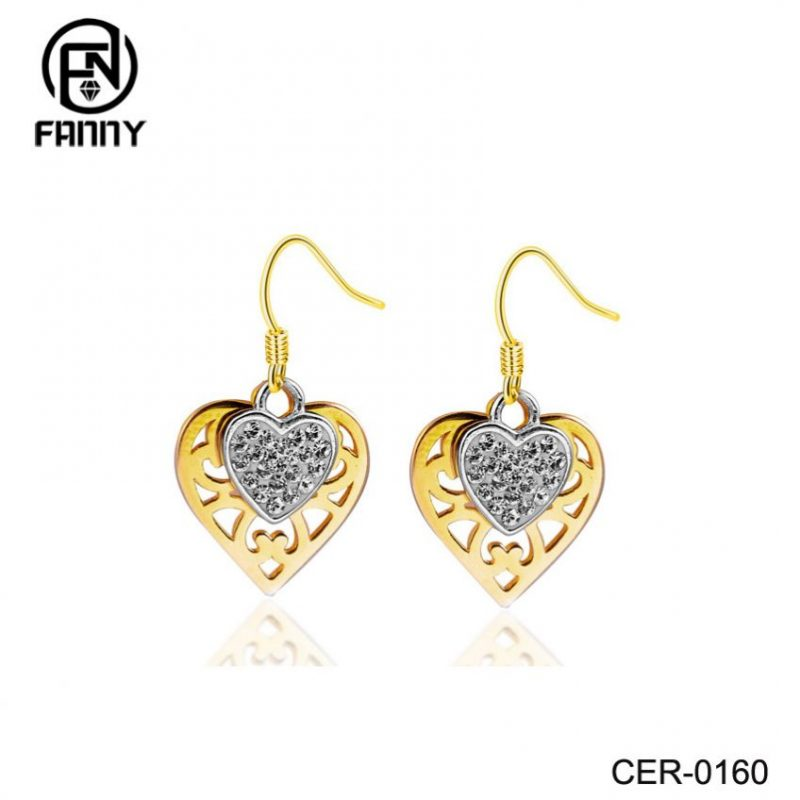Brass Factory Heart-Shaped Brass Crystal Earrings