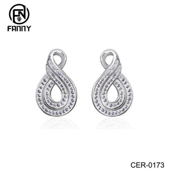 Women's Figure Eight Brass Crystal Earrings Factory