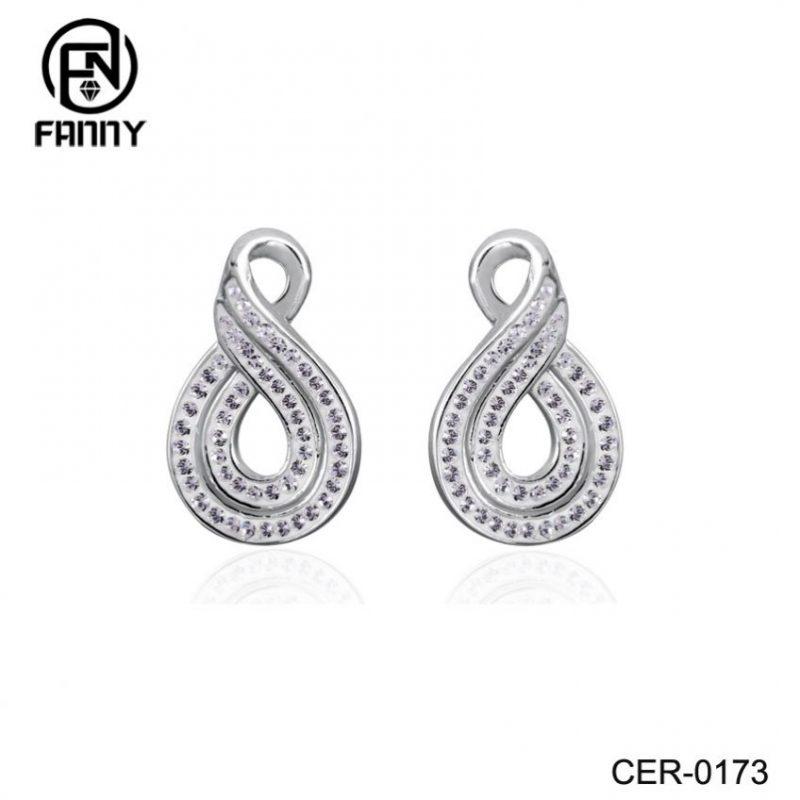 Women's Figure Eight Brass Crystal Earrings