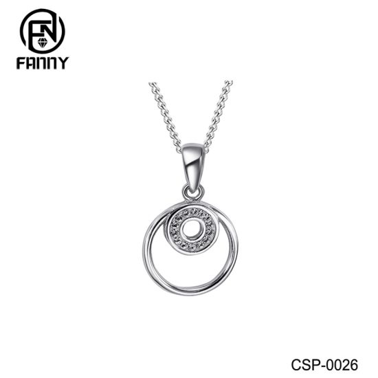 Double Circle Brass Necklace Silver Color CZ Pendant Jewelry Factory