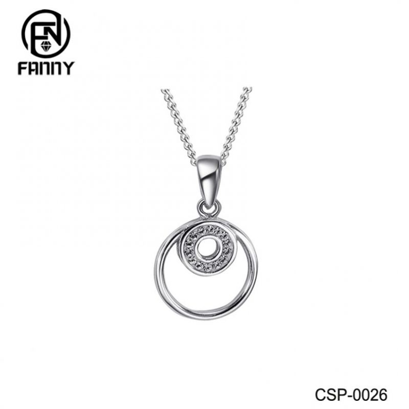 Double Circle Brass Necklace Silver Color CZ Pendant Jewelry