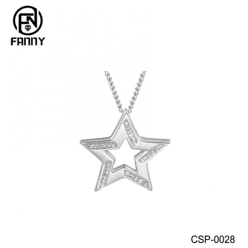 Fashion Brass Crystal Star Pendant Necklace