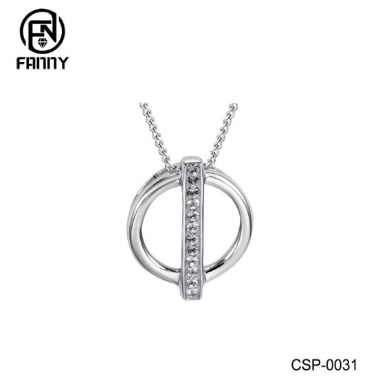 Simple Circle Necklace Brass Jewelry with CZ Inlay Factory