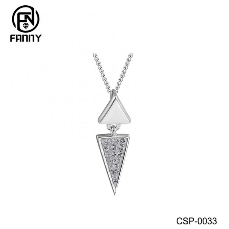 Triangle Brass Necklace Pendant Charm Contemporary Fine Jewelry For Women Gift Set