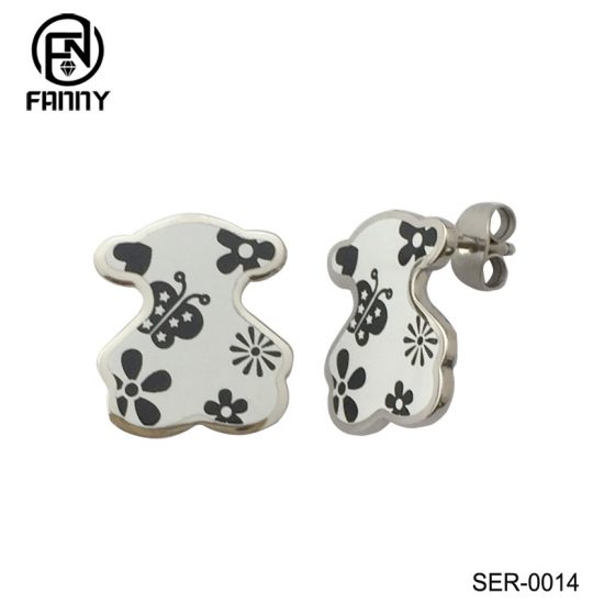 Laser Cut Pattern Anti-Allergic 316L Stainless Steel Earrings Chinese Factory