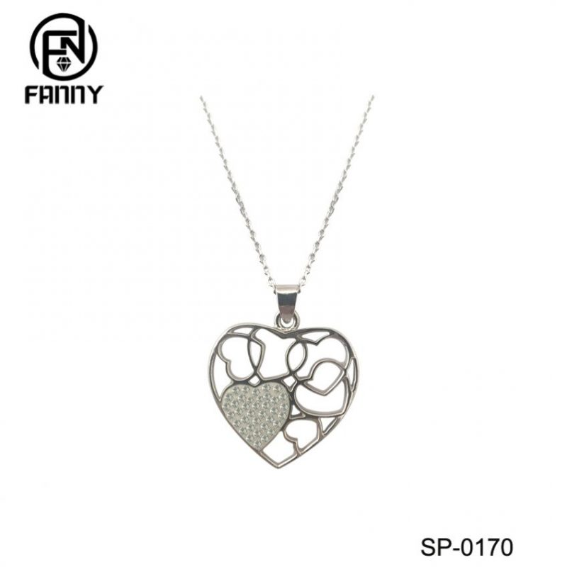 CZ Inlaid Double Heart Sterling Silver Lady Pendant Necklace