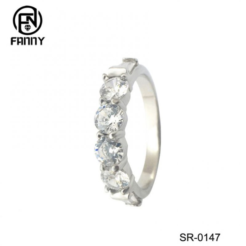 Real 925 Sterling Silver Wedding Rings For Women Classic with Cubic Zirconia