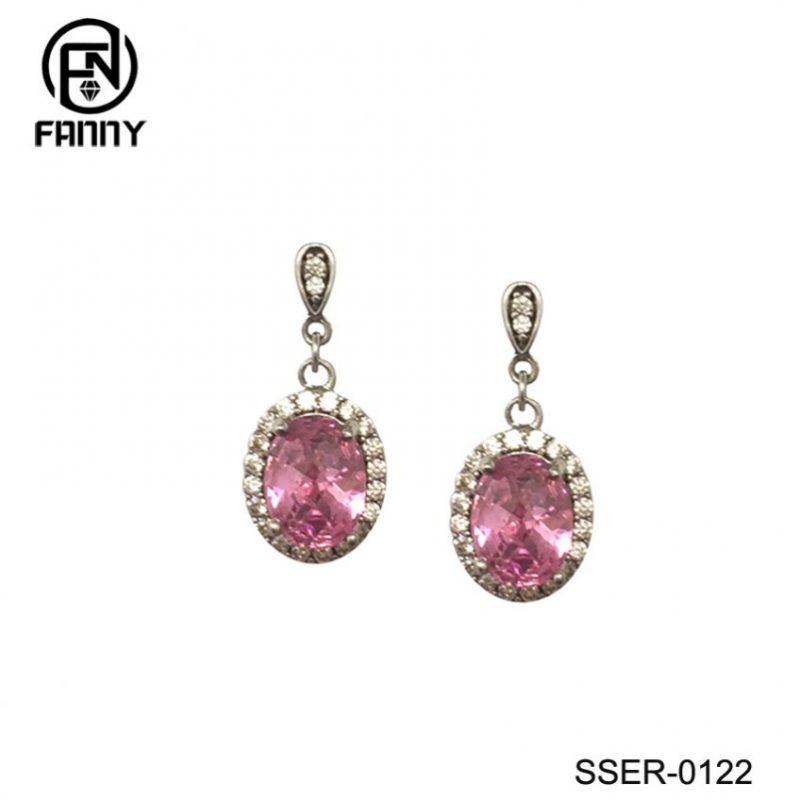 Women's Premium 925 Sterling Silver Pink CZ Stone Stud Earrings