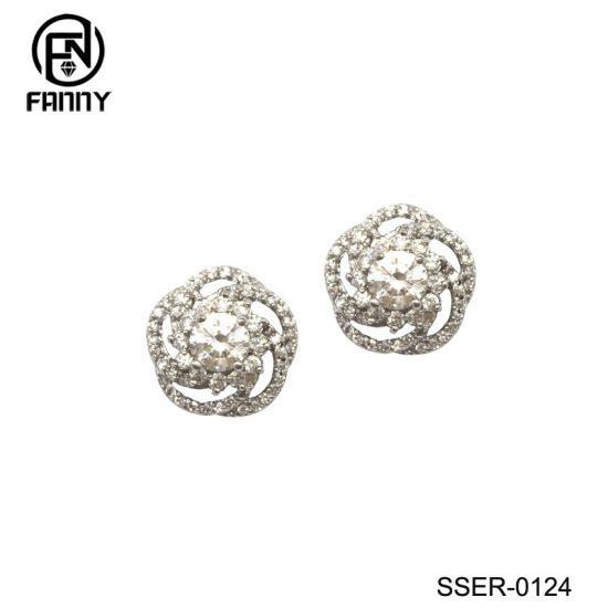 Flower-Shaped Cubic Zirconia Sterling Silver 925 Earrings Jewelry Factory