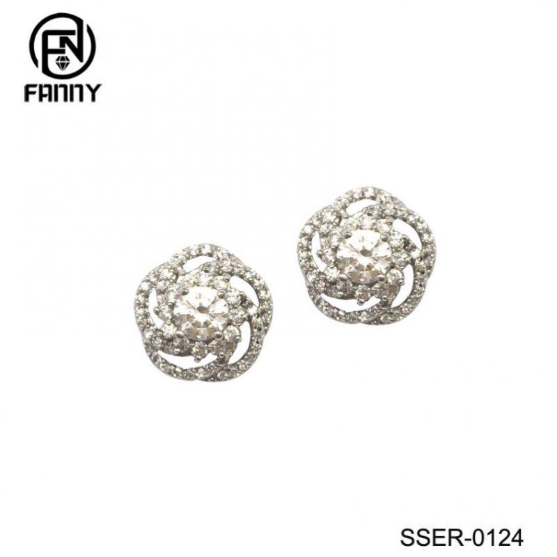 Flower-Shaped Cubic Zirconia Sterling Silver 925 Earrings Jewelry