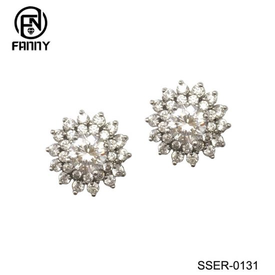 Women 925 Sterling Silver  Stud Earrings White Gold Plated CZ Studs Factory