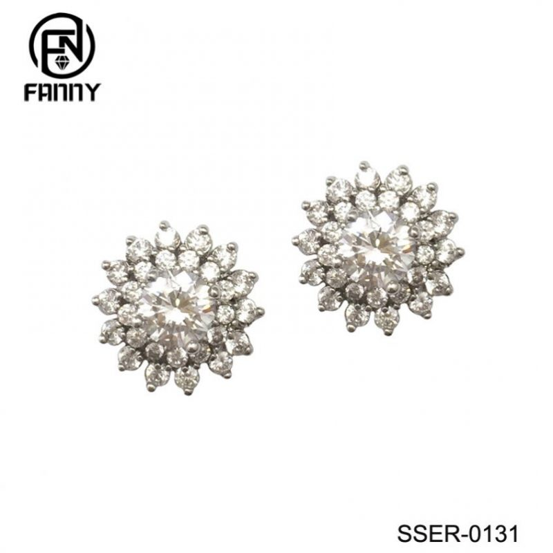 Women 925 Sterling Silver  Stud Earrings White Gold Plated CZ Studs