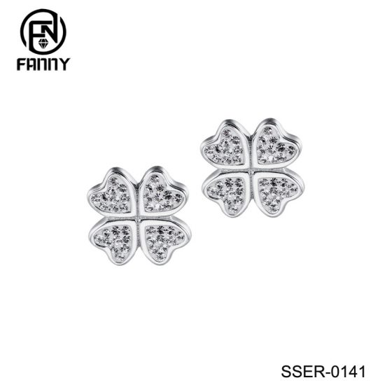 925 Sterling Silver Lucky Four (4) Leaf Clover Heart Shaped Crystal Stud Earrings Factory