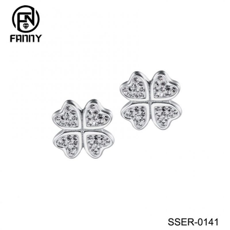925 Sterling Silver Lucky Four (4) Leaf Clover Heart Shaped Crystal Stud Earrings