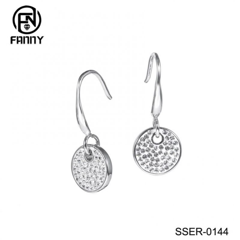 Sterling Silver Circle Drop Earrings with Swarovski Zirconia