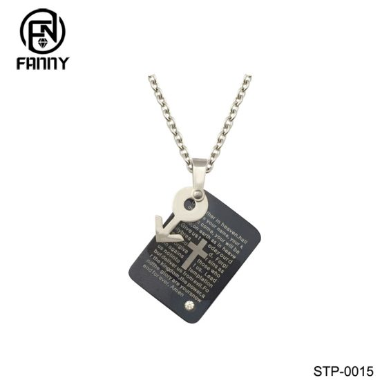 Women Plating IPB Black Lettering 316L Stainless Steel Necklace Pendant Chinese Factory